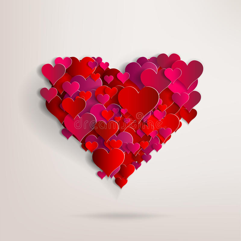 Valentines day. Abstract paper hearts. Love royalty free illustration