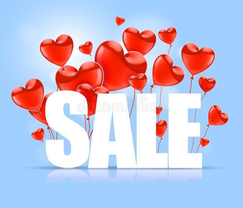 Valentines Day. Advertising sales. White SALE word on a background of red balloons in the shape of a heart. Vector illustration vector illustration