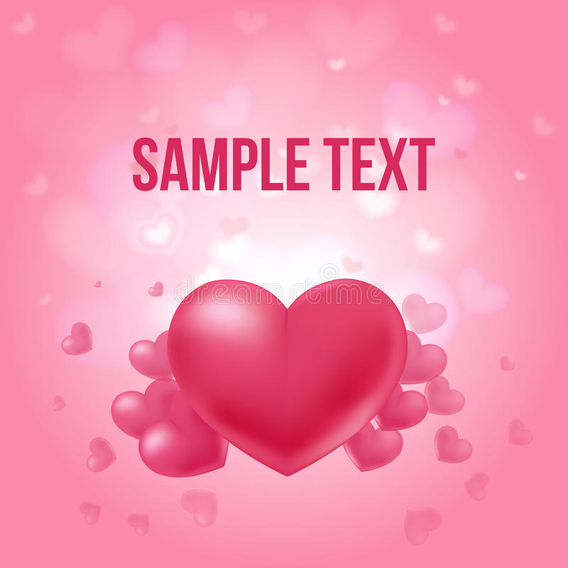 Valentines Day Amorous Poster. With red elegant hearts and place for text on bright background vector illustration royalty free illustration