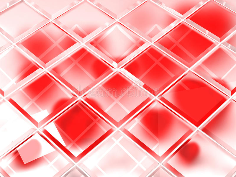 Valentines day background. Red hearts under blocks of frosted glass stock illustration