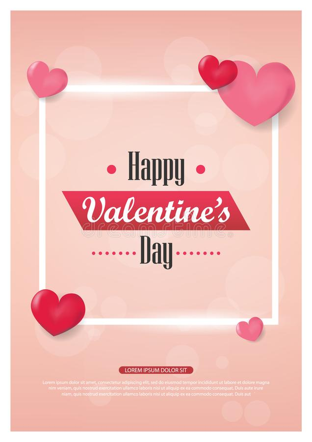 Valentines day background with balloons heart sale banner.Valentines day invitation brochure flyer, leaflet,. Wallpaper with pink and heart theme stock illustration