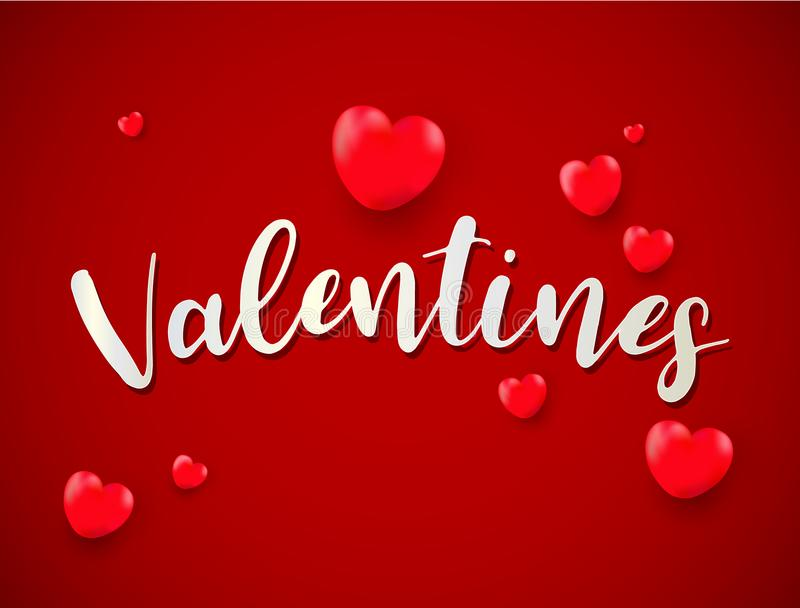 Valentines day background with balloons valentine; love; golde royalty free illustration