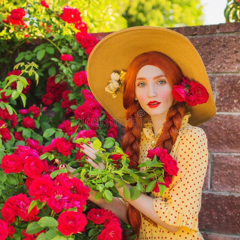 Free Valentines Day Background. Bonny Girl In Stylish Yellow Dress On Beautiful Summer Roses Garden. Redhead Bonny Model With Plait On Royalty Free Stock Photo - 121694055