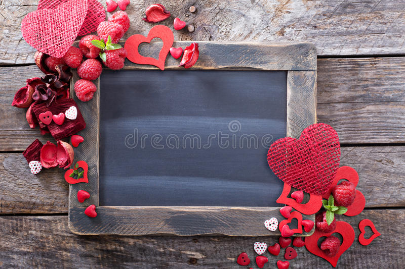 Valentines day background with chalkboard royalty free stock photo