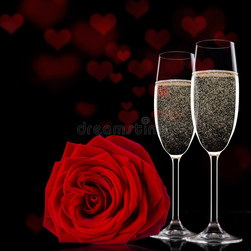 valentines day background with champagne and roses stock image, Ideas