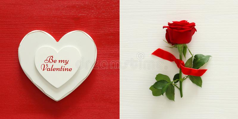 Valentines day background collage. Heart and red rose. Top view. stock images