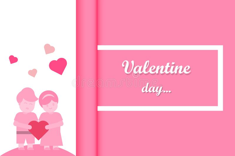 Valentines day background. A couple holding heart. Pink background rolling paper. Paper cut/craft design vector illustration