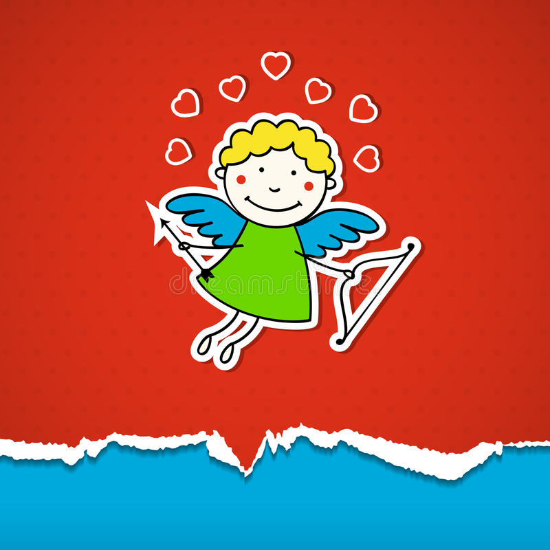 Valentines Day Background With Cupid Royalty Free Stock Image