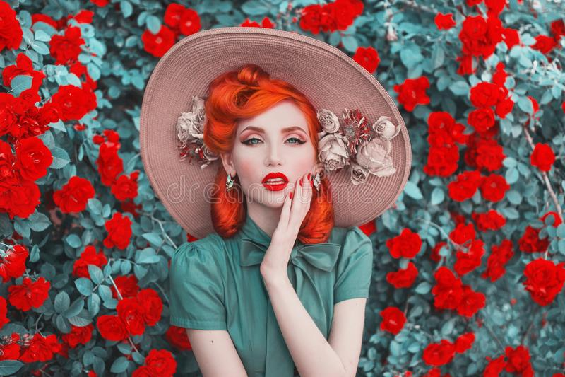 Valentines Day background. Fabulous retro girl with red lips in mint dress on awesome summer background. Woman portrait. stock image