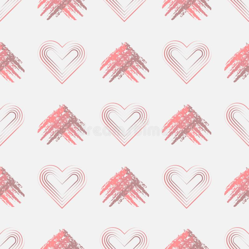 Valentines day background with grunge hearts. and hearts from dots. Seamless pattern vector illustration