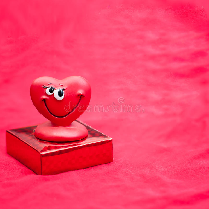 Valentines Day. Background with happy love heart on a celebratory box royalty free stock photo