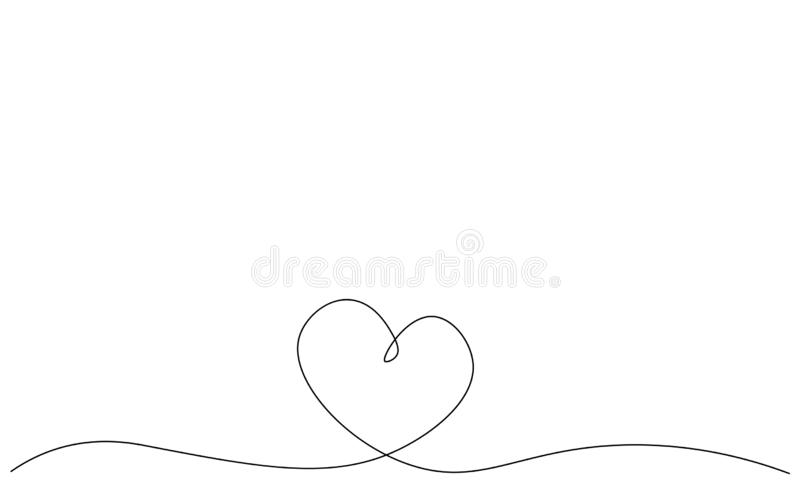 Valentines day background with heart one line drawing, vector illustration. Valentines day background with heart one line drawing vector illustration stock illustration