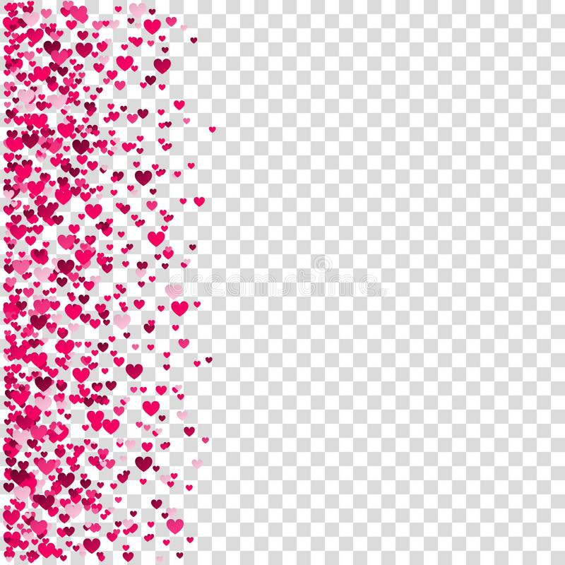 Valentines day background with pink heart confetti. Valentines day background with heart confetti. Pink design element for romantic love greeting card, Women`s stock illustration