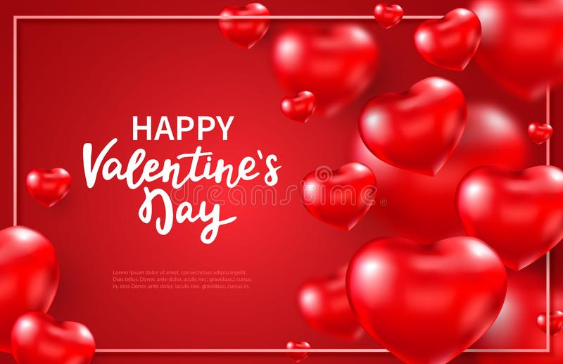 Valentines day background with red 3d glossy hearts and place for text. Flying red heart balloons. Happy Valentines Day. Hand lettering. Celebration design vector illustration