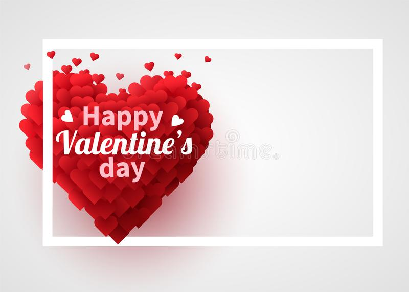 Valentines Day background with red 3d hearts. Cute love banner or greeting card. Place for text. Happy valentines day. royalty free illustration