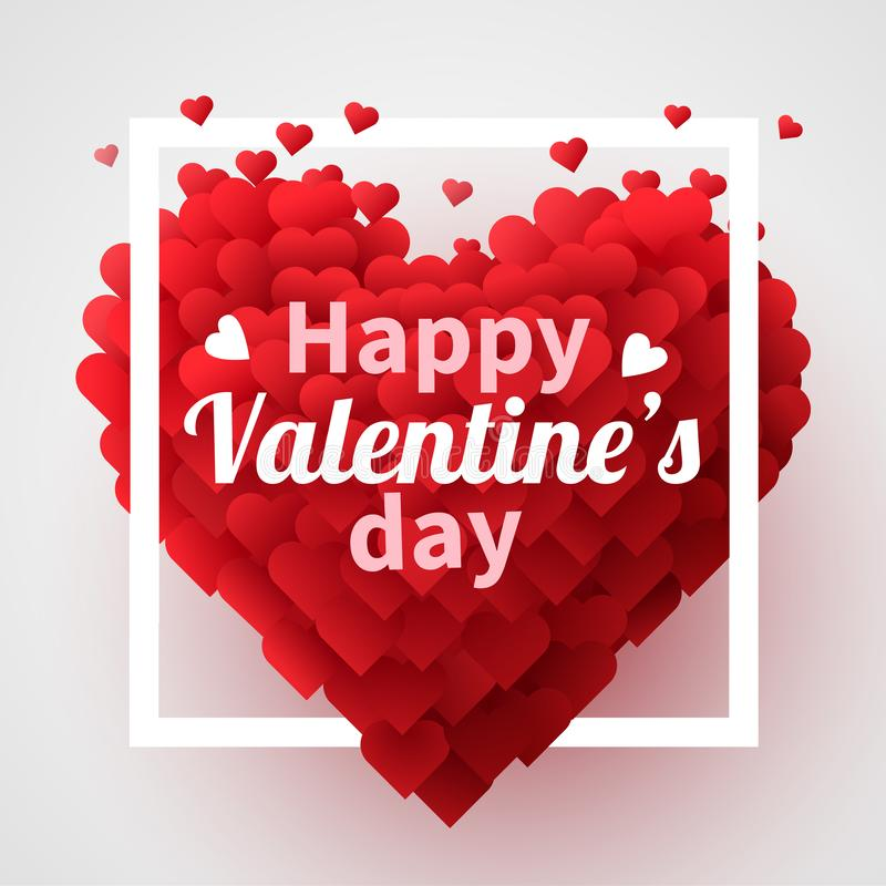 Valentines Day background with red 3d hearts. Cute love banner or greeting card. Place for text. Happy valentines day. vector illustration