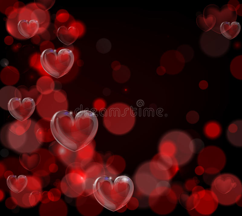 Valentines Day Background. A red valentines day hearts background with bokeh effects royalty free illustration