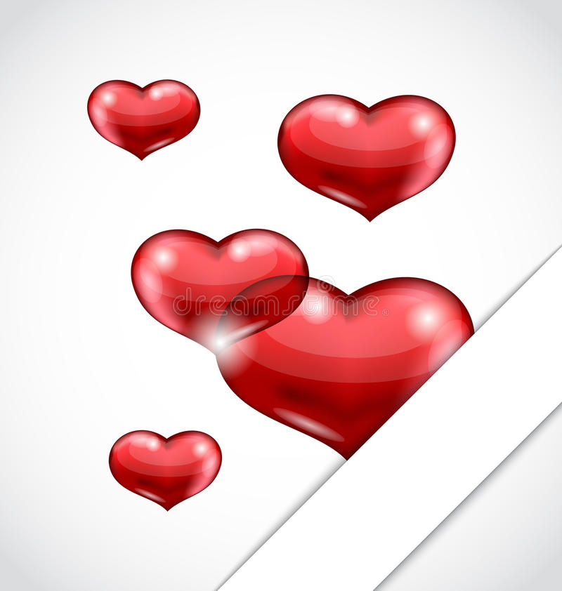 Valentines Day Background With Set Hearts Stock Photography