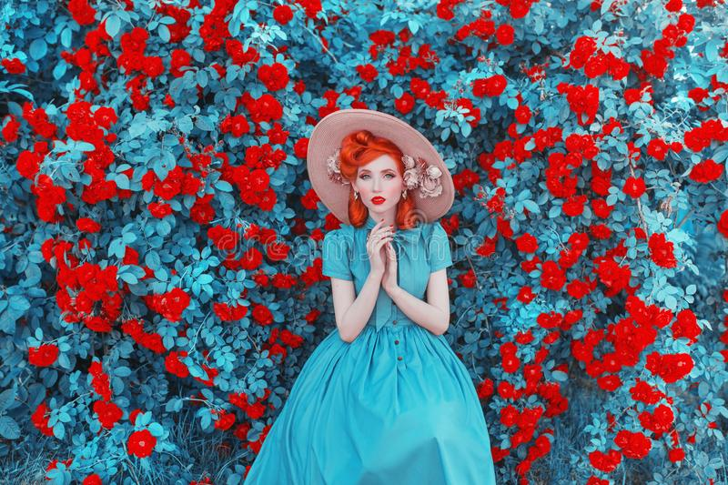 Valentines Day background. Spring rose flower garden. Fabulous lady with red lips in dress. Gardening on farm. Awesome flower wall royalty free stock images