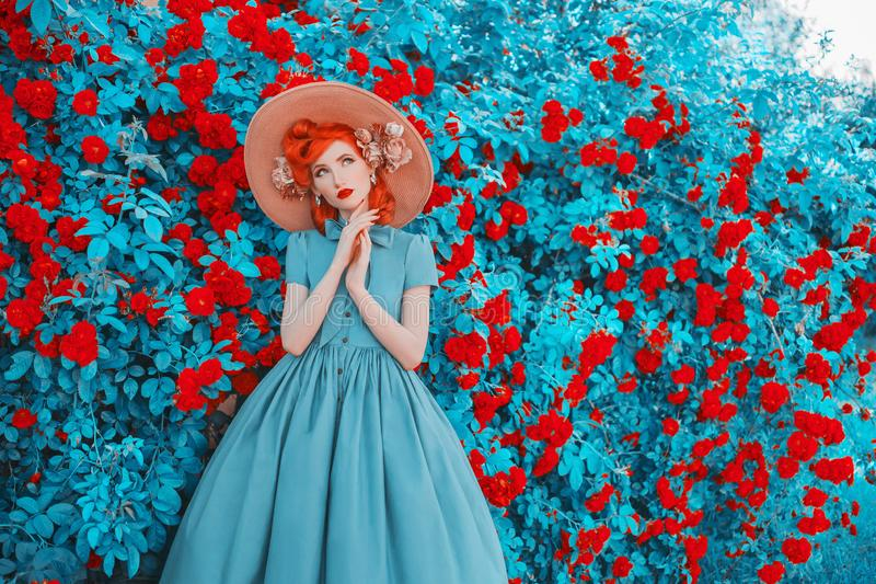 Valentines Day background. Spring rose flower garden. Sweet perfume. Trendy girl with red lips in dress. Gardening on farm. royalty free stock photo