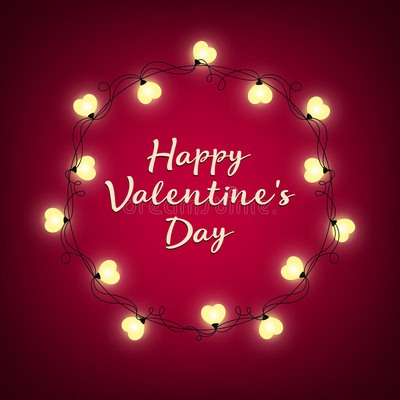Valentines Day background. Vector retro light sign. Heart shape. Decorative festive heart-shaped bulbs lights wreath. Holiday garland royalty free stock photography