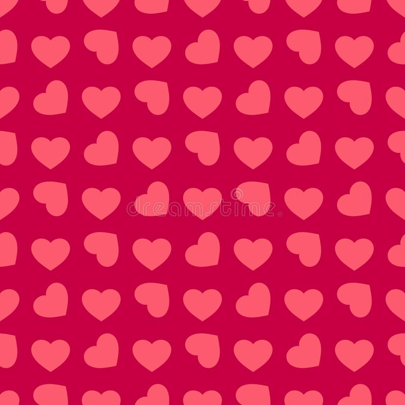 Valentines day background. Vector seamless pattern with red rotated hearts royalty free illustration