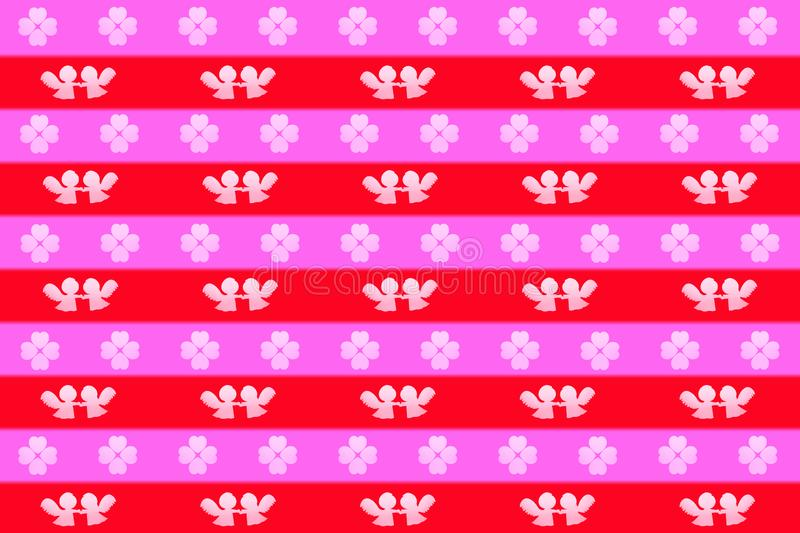 Valentines day background or wrapping paper, pattern of angels holding hands and clovers made of hearts. A valentines day background or wrapping paper, pattern vector illustration