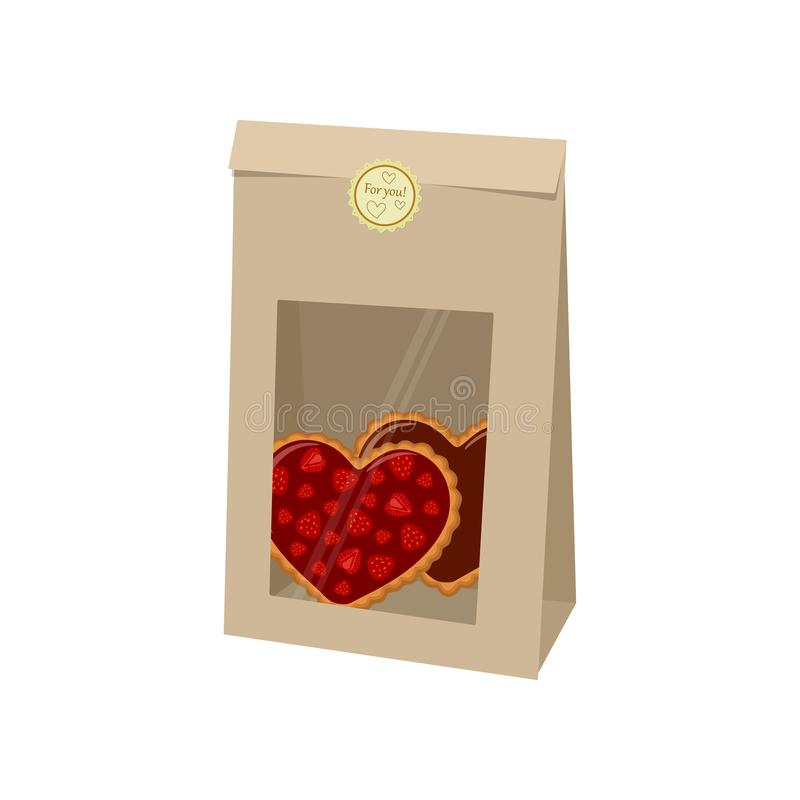 Valentines day. Bag of kraft paper with cookies on white background stock photography