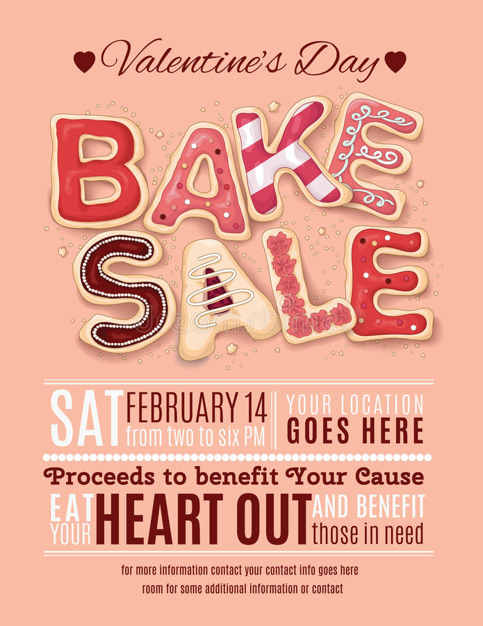 Valentines Day Bake Sale Flyer Template Stock Vector  Image