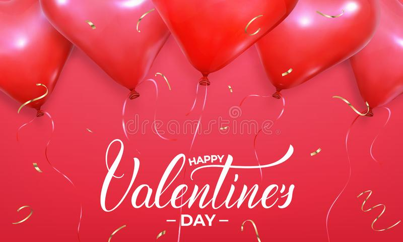 Valentines Day banner. Background with realistic heart shape red helium balloons and gold confetti. Valentine`s holiday design vector illustration
