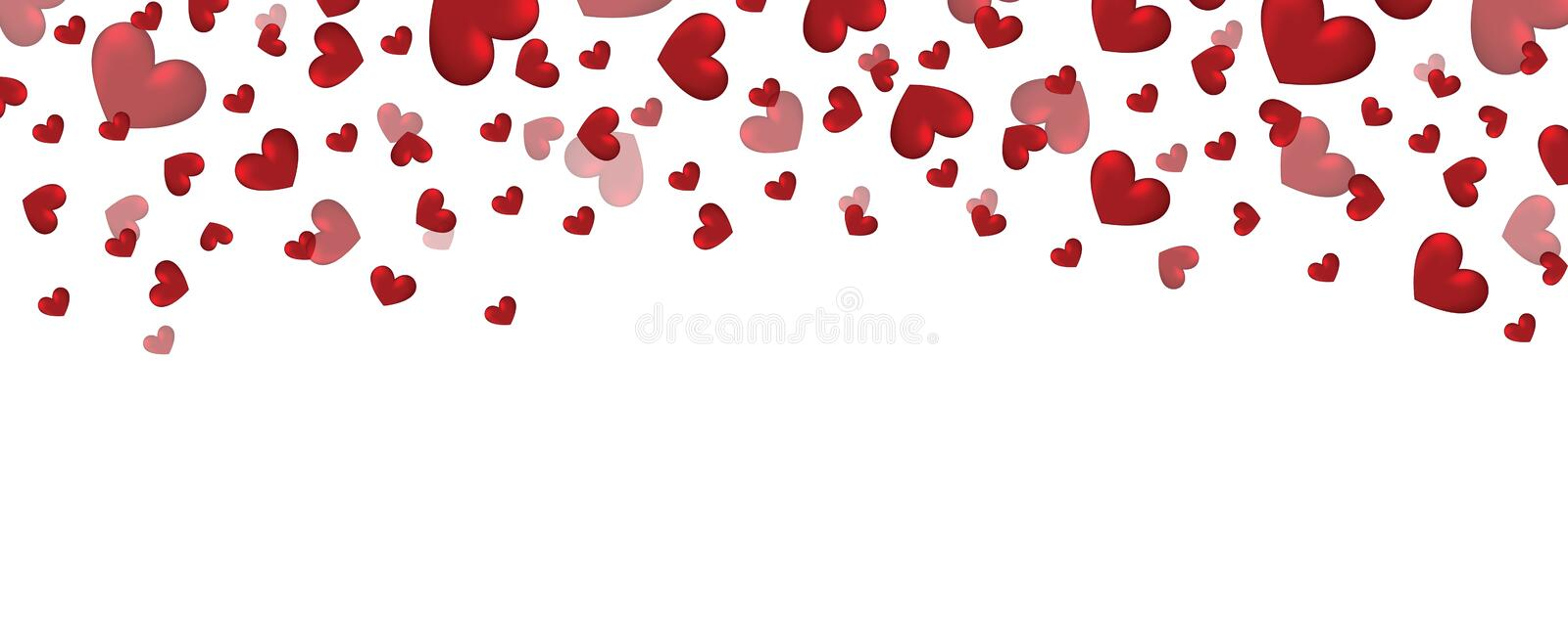 Valentines day banner design with hearts, falling hearts design decoration, valentine heart. Illustration of Valentines day banner design with hearts, falling vector illustration