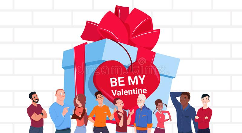 Valentines Day Banner Group Of People Over Big Gift Box With Heart Shaped Tag vector illustration