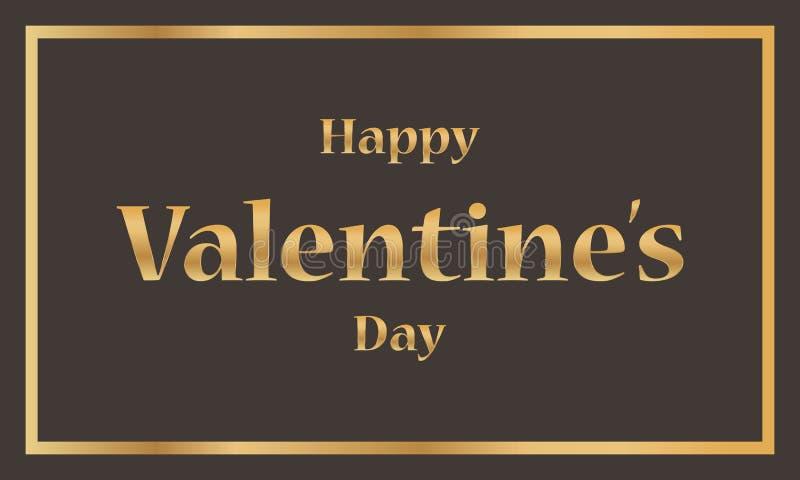 Valentines Day Banner. Luxury Golden Typographic Valentine`s Day Design. - Vector.  stock illustration