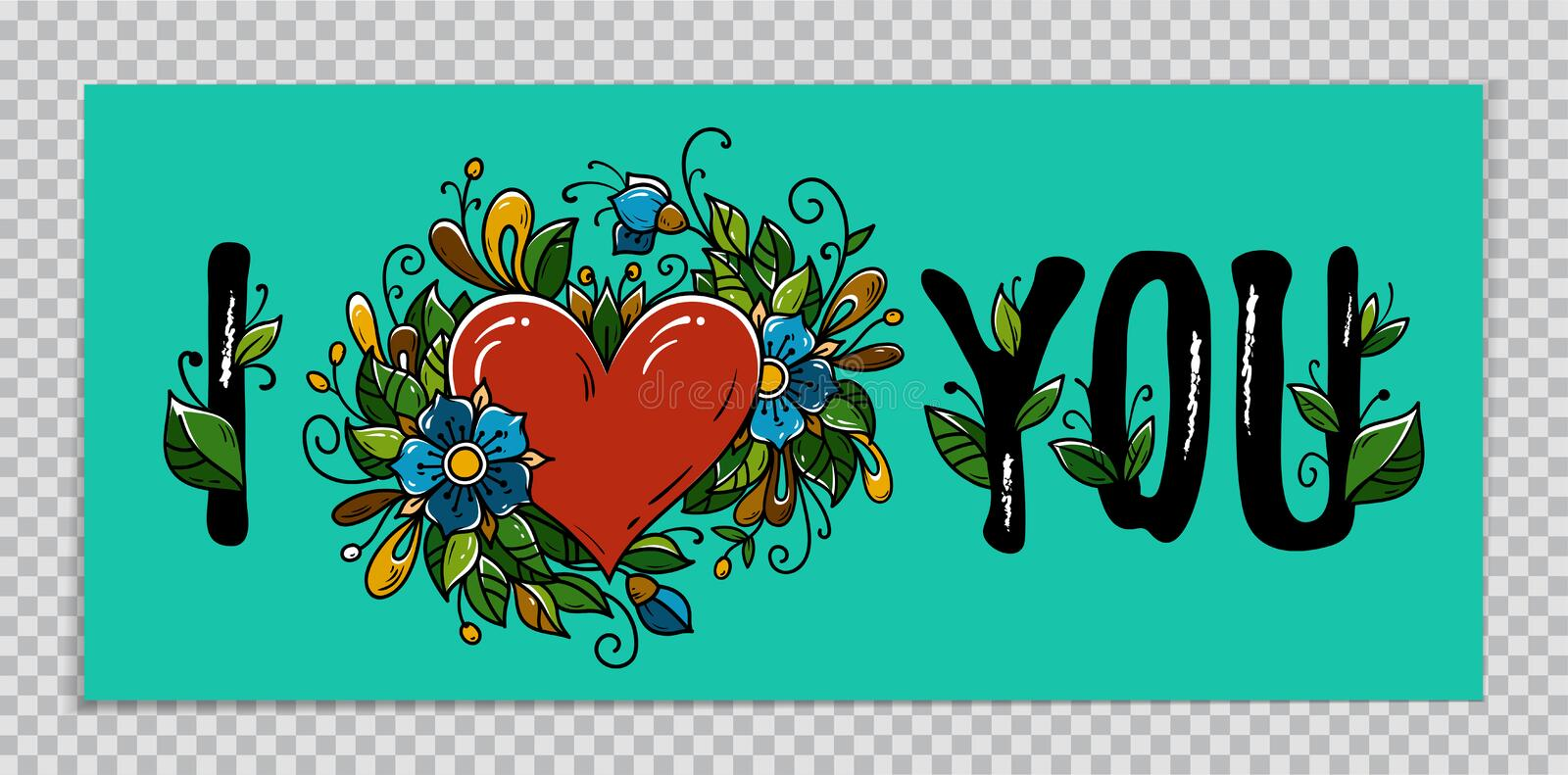 Valentines Day banner on transparent background. Hand drawing calligraphy I Love You and red heart decorated flowers royalty free illustration