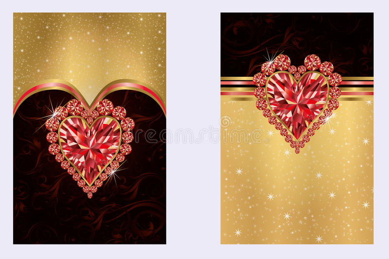 Valentines day banners with ruby heart stock illustration