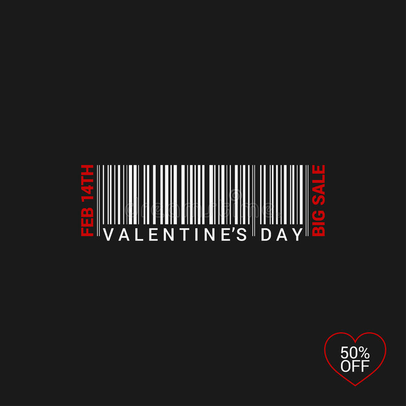 Valentines Day Bar Code Logo Background stock illustration