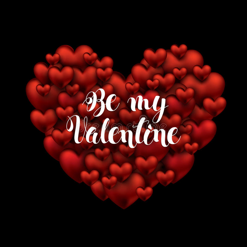 Valentines Day. Be my Valentine handwritten text. brush pen lettering on many hearts a big heart. vector illustration royalty free illustration