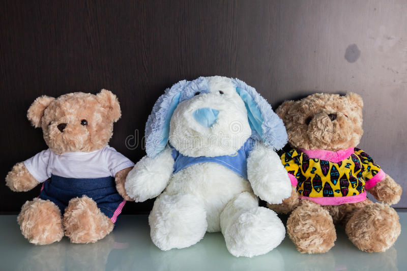 Valentines Day. Bear doll sits beside together royalty free stock photo