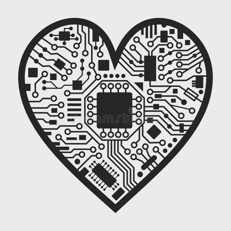 Valentines day black and white cyber heart vector illustration