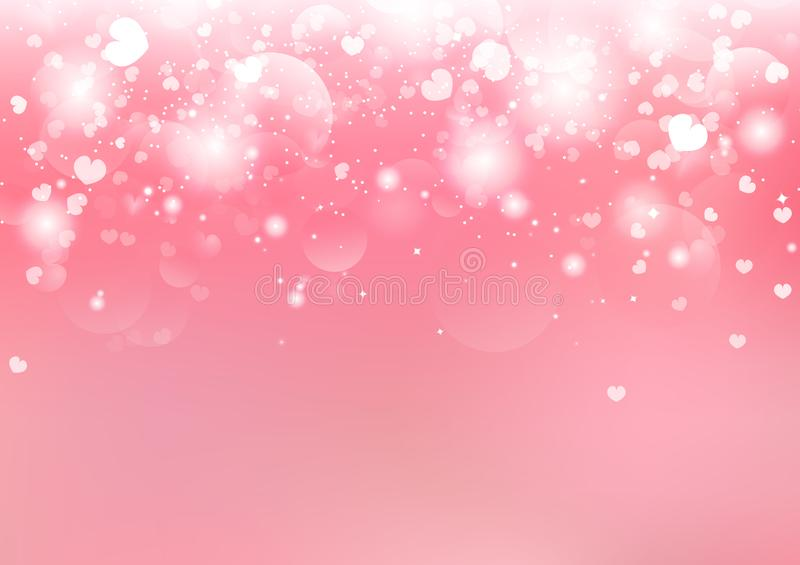 Valentines day, blurry heart falling Bokeh stars glitter bright blinking pink pastel romantic abstract background seasonal holiday. Vector illustration royalty free illustration