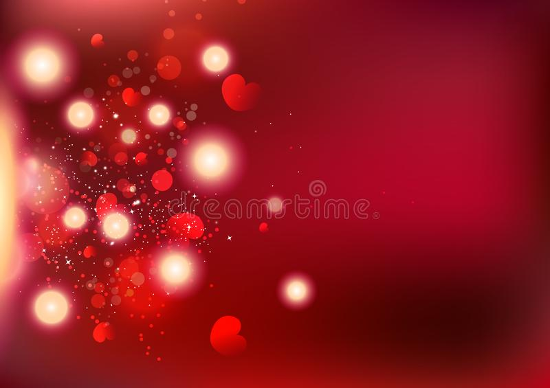 Valentines day, Bokeh heart scatter, love exploding backdrop celebrate holidays abstract background vector illustration vector illustration