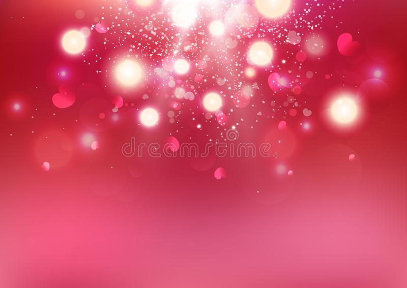 Valentines day, Bokeh heart scatter, love exploding luxury backdrop celebrate holidays abstract background vector illustration. Valentines day, Bokeh heart vector illustration