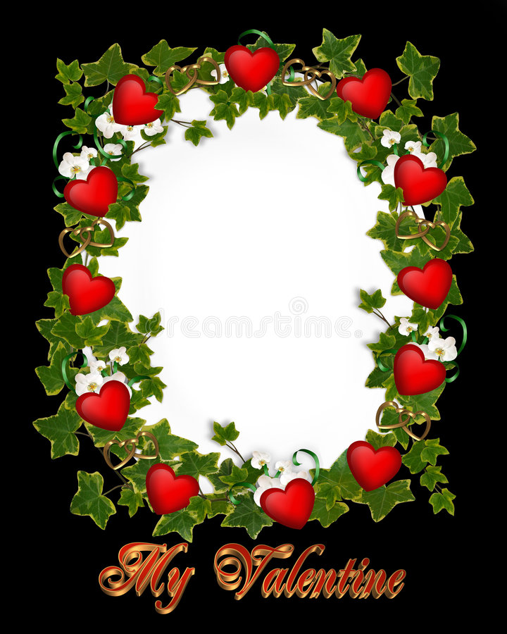 Download Valentines Day Border Ivy Wreath With Hearts Stock Illustration - Illustration: 7690819