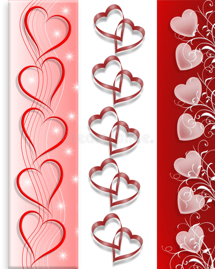 Valentines day Borders Hearts 3 styles stock image