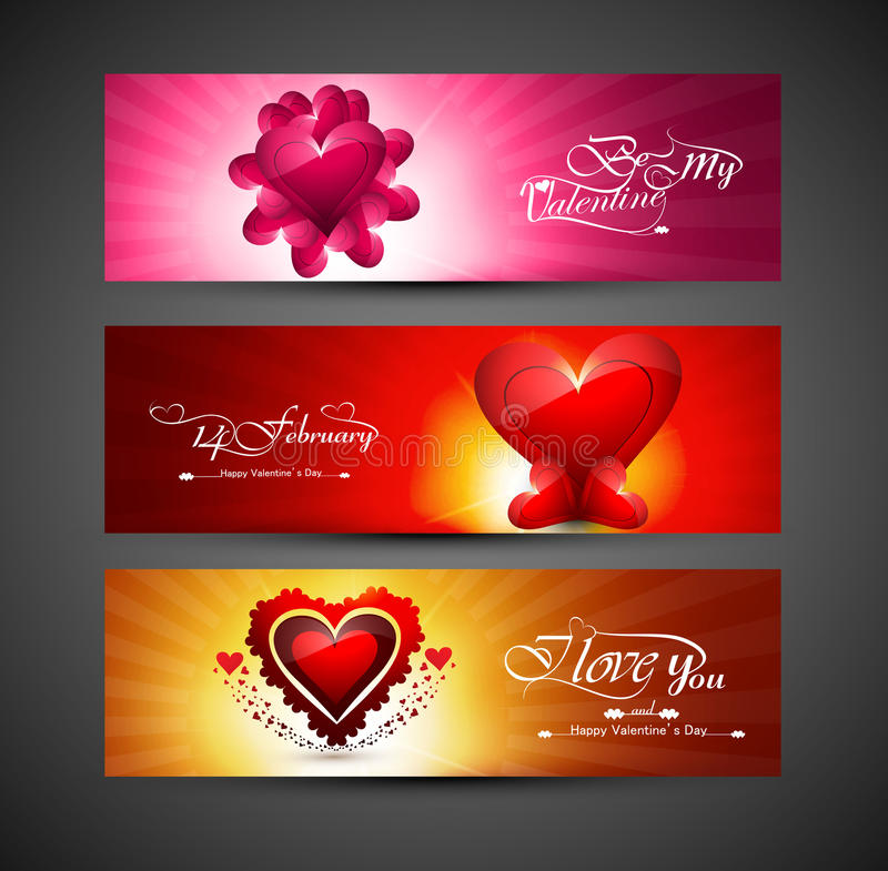 Valentines day bright colorful greeting card for three header de stock illustration
