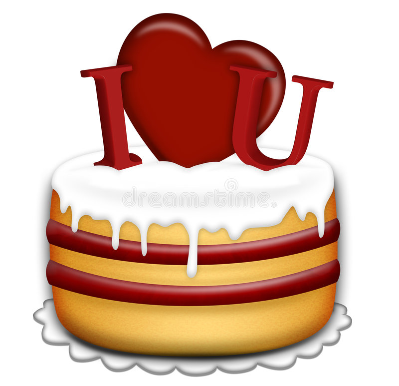 Valentines Day cake vector illustration