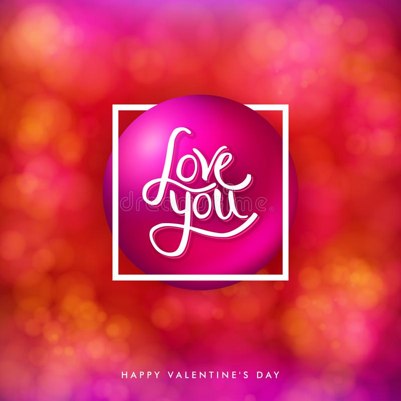 Valentines day card on bright, blurred red background with bokeh light effects. stock illustration