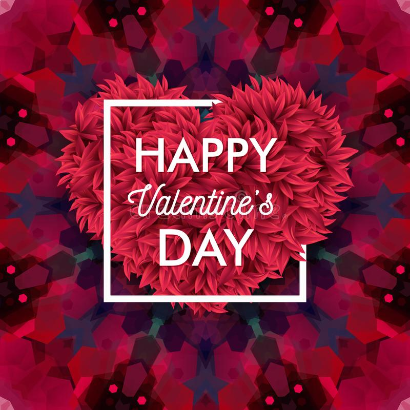 Valentines day card on colorful, geometric mosaic background. stock illustration