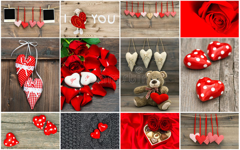 Valentines Day card concept. Red hearts, rose flowers, decorations. Photo frames royalty free stock photo