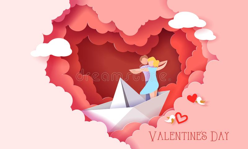 Valentines day card with couple in love heart. Valentines day card with couple hugging in love on paper boat inside red clouds heart shaped. Vector paper art vector illustration